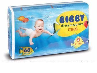 Детские подгузники Bibby Dream&Play Maxi Повна Чаша, 68 шт