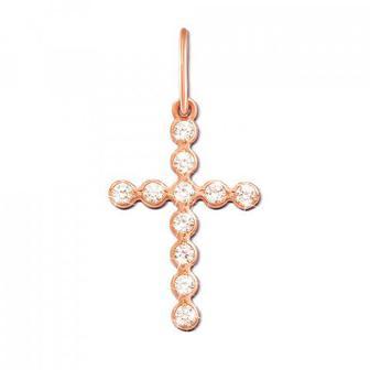 Золотой крестик с фианитами. Артикул 3749