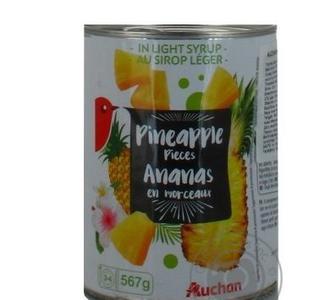 Ананас Auchan шматочки в сиропі 567г