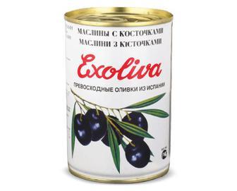 Маслини Exoliva Extra чорні з кісточкою, 425мл