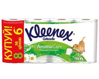 Папір туалетний Kleenex 3-шаровий «Ніжна ромашка» 6+2 рулони/уп