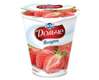 Йогурт «Дольче» з наповнювачем полуниця, 3,2%, 280г