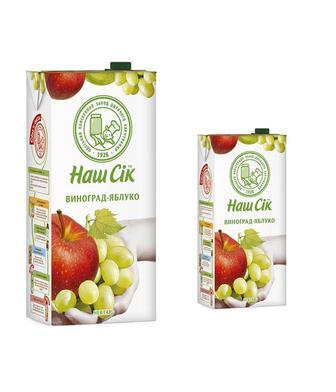 Нектар ВИноградно-яблучний, Яблучний, Вишневий, або сік Томатний Наш Сік 1,93л