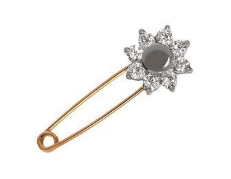 Золота шпилька з фіанітом (4бл-017/34)
