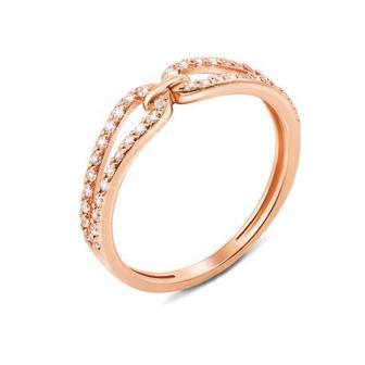 Золотое кольцо «Бесконечность» с фианитами. Артикул 12791