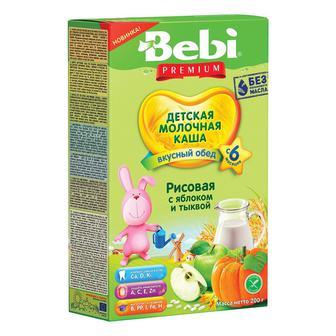 Каша Bebi Премиум молочная рисовая с яблоком и тыквой 200г
