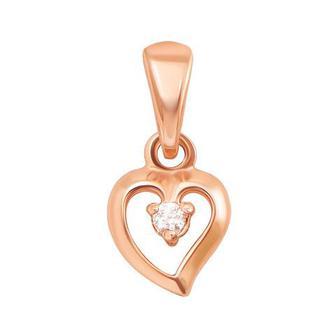 Золотая подвеска «Сердце» с фианитом. Артикул 31181