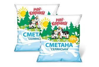 """Сметана """"Селянська"""" 15%, Мої Корівки, 400г"""