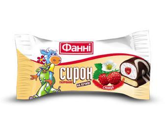 Сирок глазурований «Фанні» з печивом і суницею в білому шоколаді, 50г