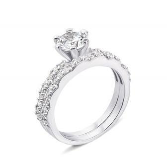 Наборное двойное серебряное кольцо с фианитами. Артикул GR0023-R