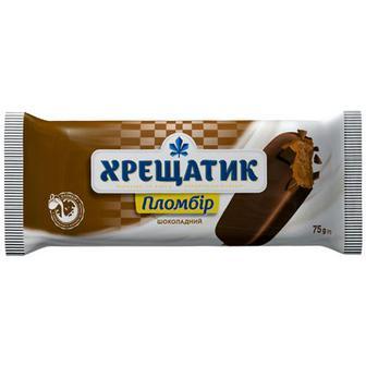 Морозиво Хрещатик Пломбір шоколадний в глазурі 75г