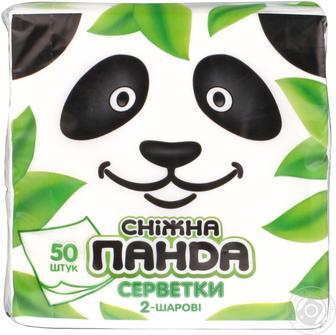 Серветки паперові білі Сніжна панда 50шт
