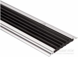Поріжок алюмінієвий 17-А Лугалпроф профільований антиковзка вставка 6х60x900 мм срібло