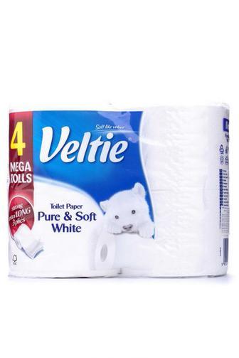 Туалетная бумага Veltie Деликатная Белая 4 шт 3 слоя 324 отрывов