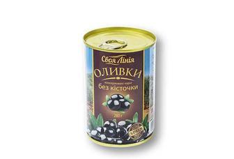 Оливки консервовані чорні без кісточки Своя Лінія 280 г