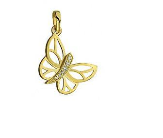 Золотой кулон Бабочка с фианитами