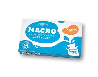 Масло Селянське солодковершкове, 72,6% Своя Лінія 200 г