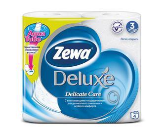 Папір туалетний Zewa Deluxe 3-шаровий білий 4 рулони/уп