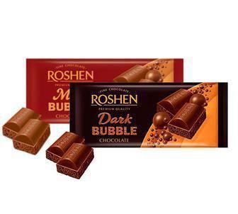 Шоколад пористий молочний або екстрачорний Roshen 85 г