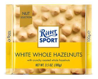 Шоколад білий Ritter Sport з цільними лісовими горіхами, 100г