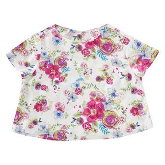 """Блуза """"Цветочный сад"""" с короткими рукавами и круглым вырезом горловины"""