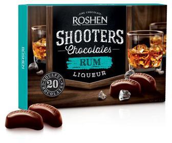 Цукерки Shooters з ромовим лікером Цукерки у чорному шоколаді з начинкою ромовий лікер.