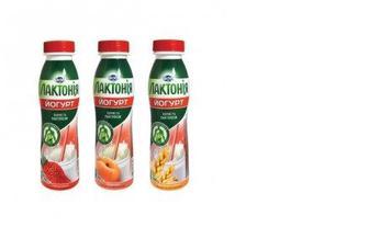 Йогурт Лактония 1.5% Клубника/Персик/Отруби-злаки бутылка, 290 г