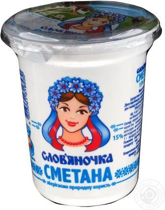 Сметана 15% Слов'яночка, 345 г