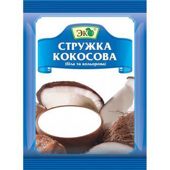 Стружка кокосова біла та кольорова 40г Эко