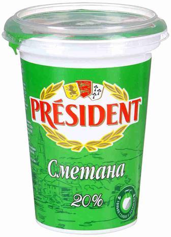 Сметана 20% President 350Г
