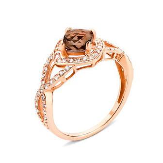 Золотое кольцо с раухтопазом и фианитами (530056/раух сп)