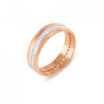 Комбинированное обручальное кольцо с фианитами. Артикул 1090