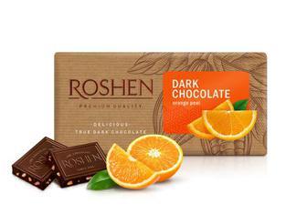 Шоколад чорний Roshen з апельсиновою цедрою 56% 90г