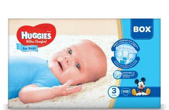 Підгузки Huggies Box Ultra Comfort для хлопчиків 3 (5-9 кг) 108 шт./уп