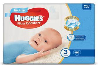 Підгузки Huggies Ultra Comfort для хлопчиків 3 (5-9 кг) 80 шт./уп