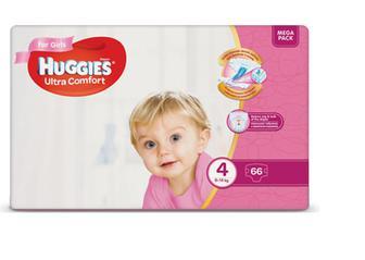 Підгузки Huggies Ultra Comfort для дівчаток 4 (8-14 кг) 66шт./уп