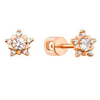 Золотые пуссеты с бриллиантами. Артикул 53705/1.75