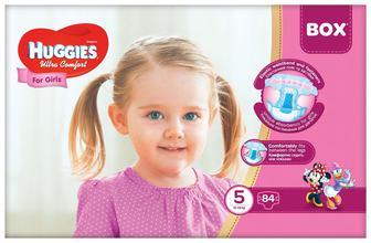 Підгузки Huggies Ultra Comfort Для Дівчаток Розмір 5 (12-22 КГ) 84 шт