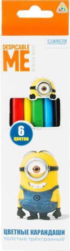 Олівці кольорові 6 шт. товсті тригранні © Universal Despicable Me