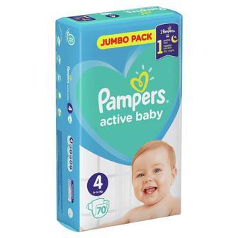 Подгузники Pampers Active Baby-Dry Размер 4 (9-14 кг), 70 шт
