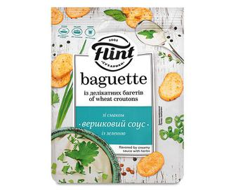 Сухарики Flint Baguette пшеничні зі смаком вершкового соусу із зеленню, 110г