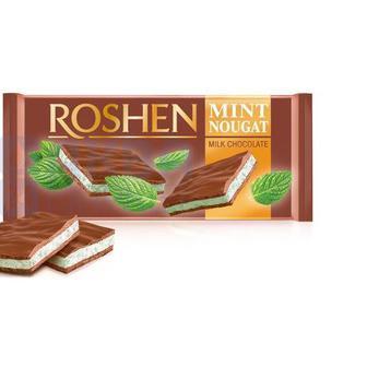 Шоколад молочний з м'ятною нугою, Рошен, 90 г