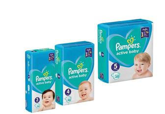 Підгузники Active Baby, Midi3/Maxi4/ Junior 5 Pampers 38/46/54 шт
