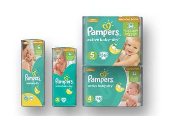 Підгузники Active Baby New Baby Mini, 66 шт. Midi, 54 шт. Maxi, 46 шт. Junior, 36 шт.  Pampers