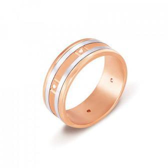 Обручальное кольцо с бриллиантами. Артикул 1046
