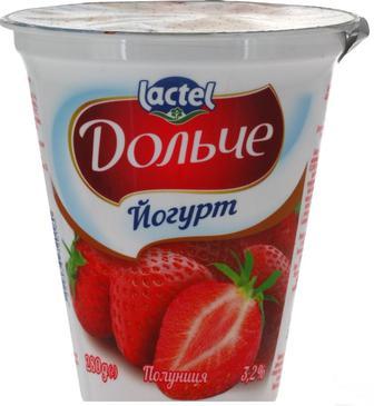 Йогурт з наповнювачем полуниця або персик- маракуйя  Дольче  3,2%  Lactel 280 г