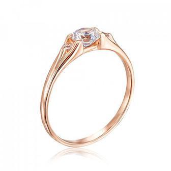 Золотое кольцо с фианитами. Артикул 12711