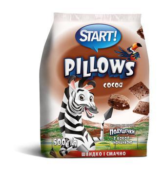 Подушечки Старт молоко/з какао начинкою 500г