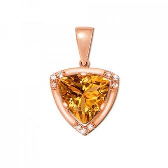 Золотая подвеска с цитрином и фианитами. Артикул 550026/ц кс