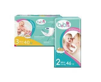Детские подгузники Bebis Premium 34/36/40/46шт